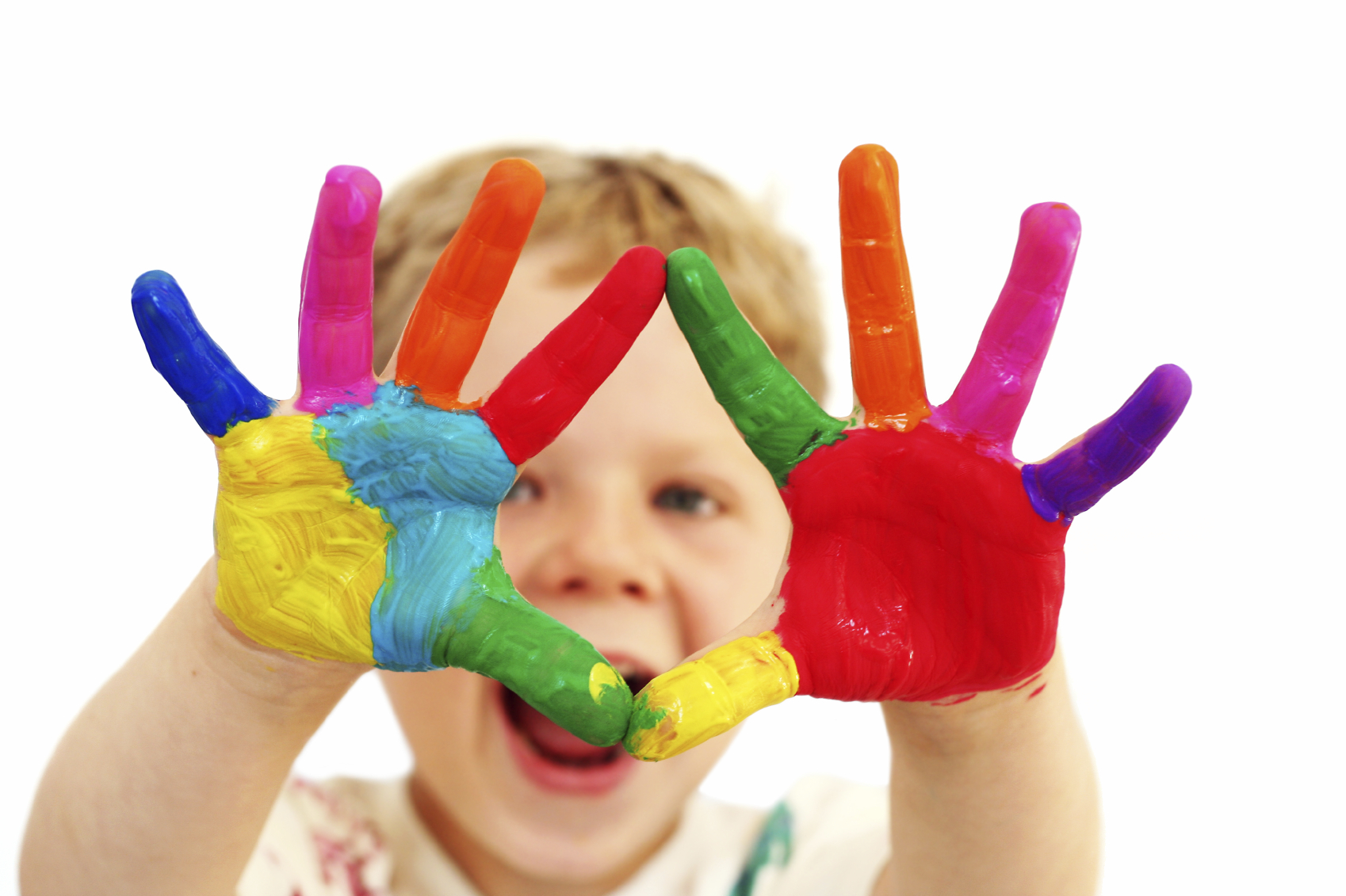 Young Child with Rainbow Painted Hands