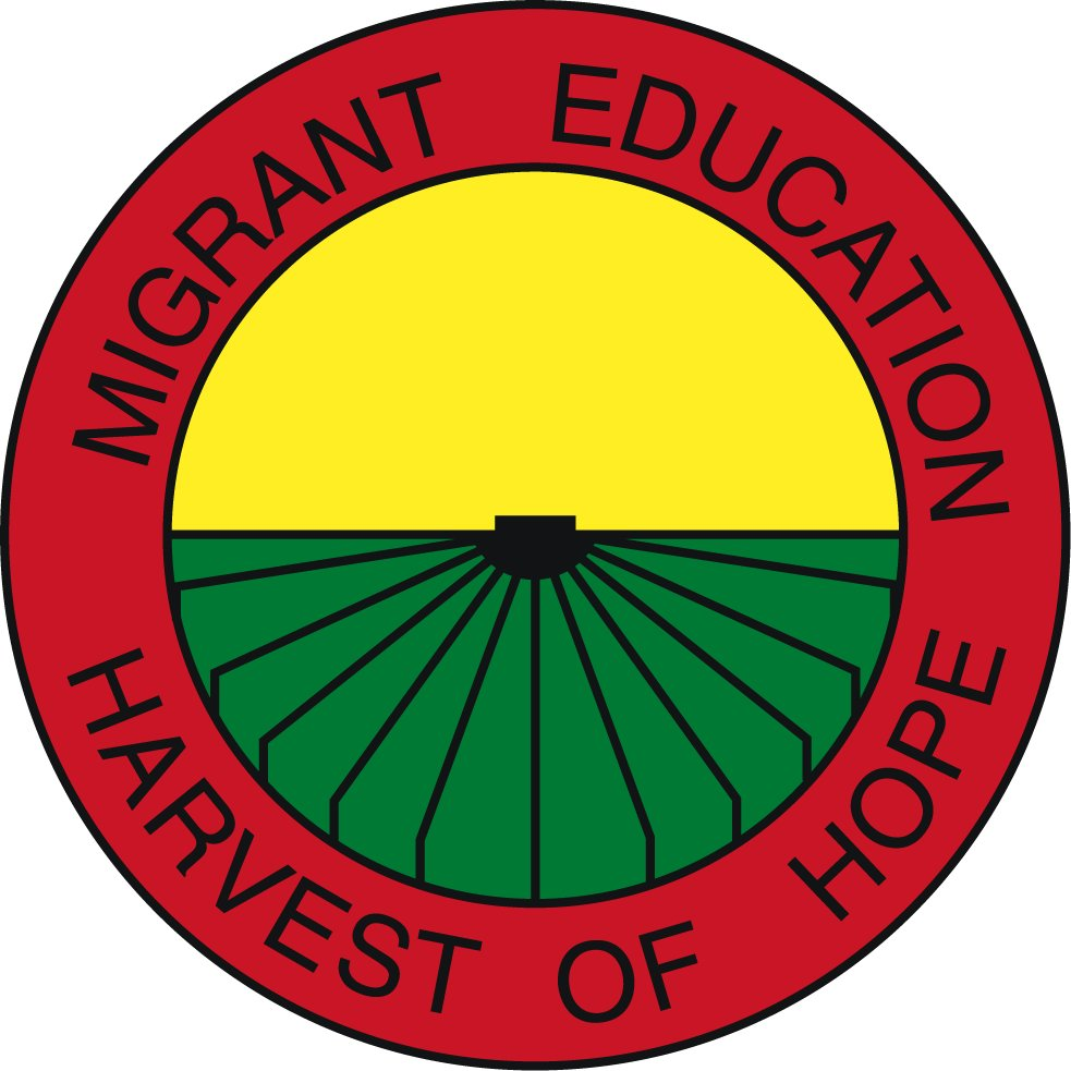 Logo of Migrant Education Program, Harvest of Hope (Red Circle around a yellow sky and green field)