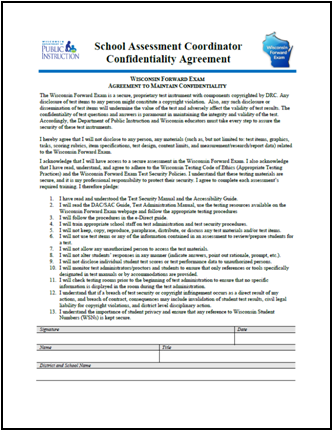 Forward Exam Confidentiality Agreements