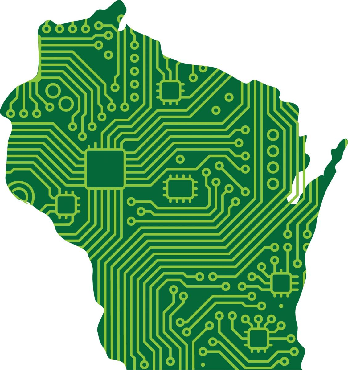 map of wisconsin with a circuit board design
