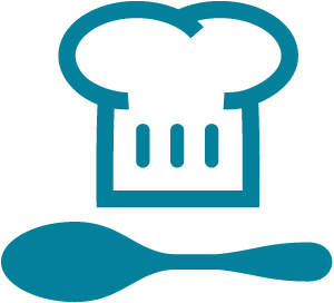 Chef hat with spoon icon