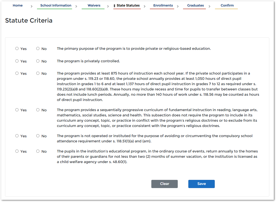 image of entering state statute criteria on the pi-1207 application