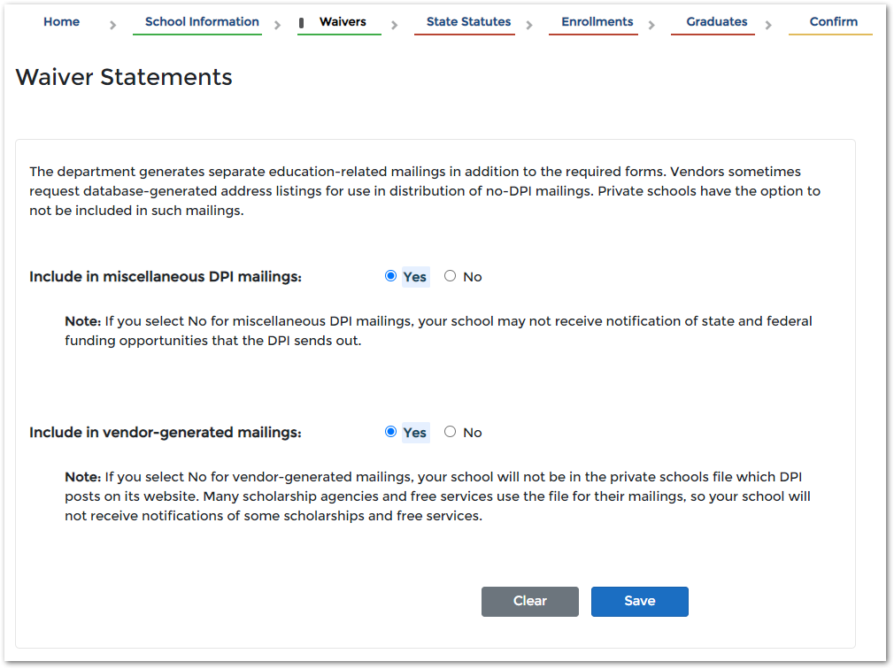 image of waiver statements in the pi-1207 application