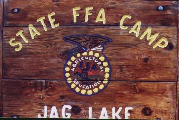 """State FFA Camp Jag Lake"" engraved wooden sign photo"