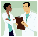 male and female doctor looking at a clipboard