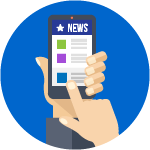 smart phone icon with news logo