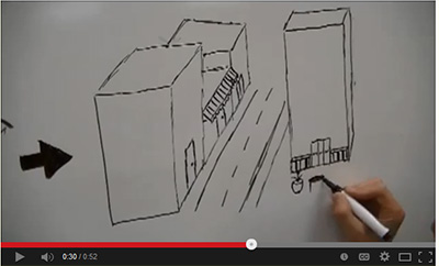 a hand drawing images of a community on a whiteboard