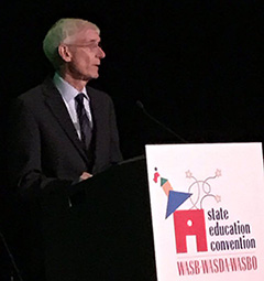 State Supt Tony Evers giving speech at conference