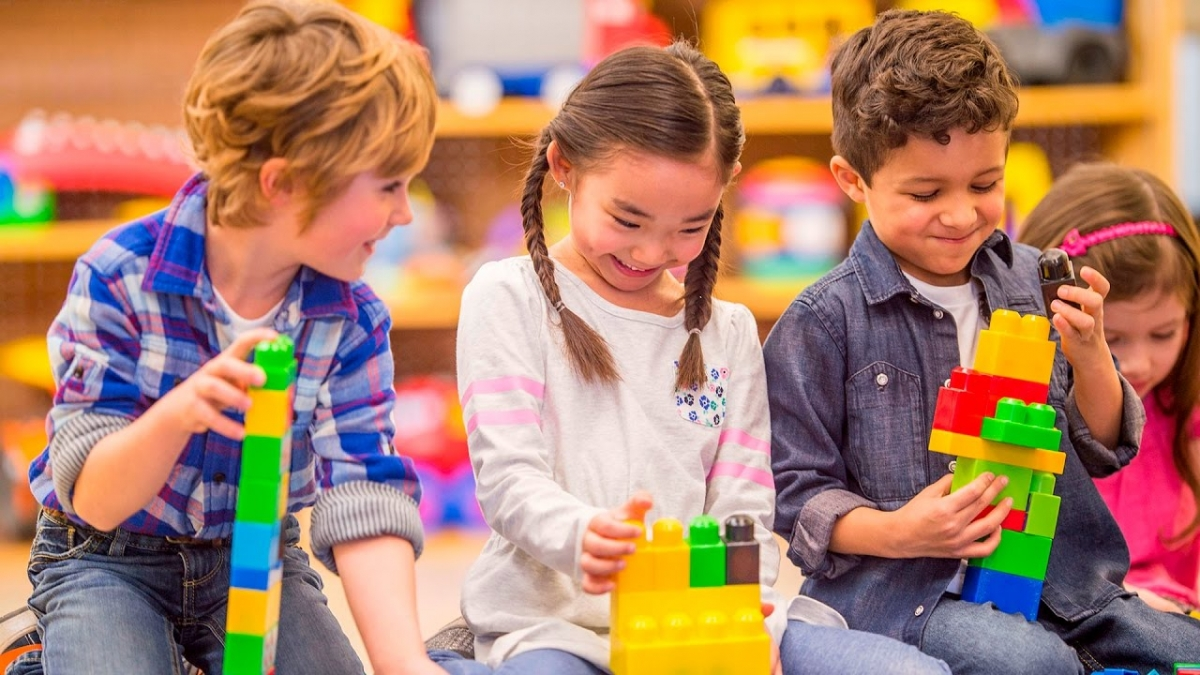 image of children playing with blocks