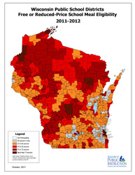 thumbnail map of Wisconsin using colors to designate high-poverty areas