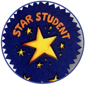 student award badge with a star on it