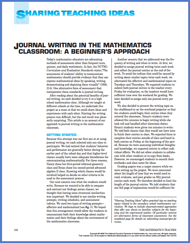 Journal Writing in the Mathematics Classroom