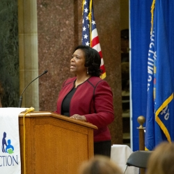 State Superintendent Carolyn Stanford Taylor speaking at State Capitol