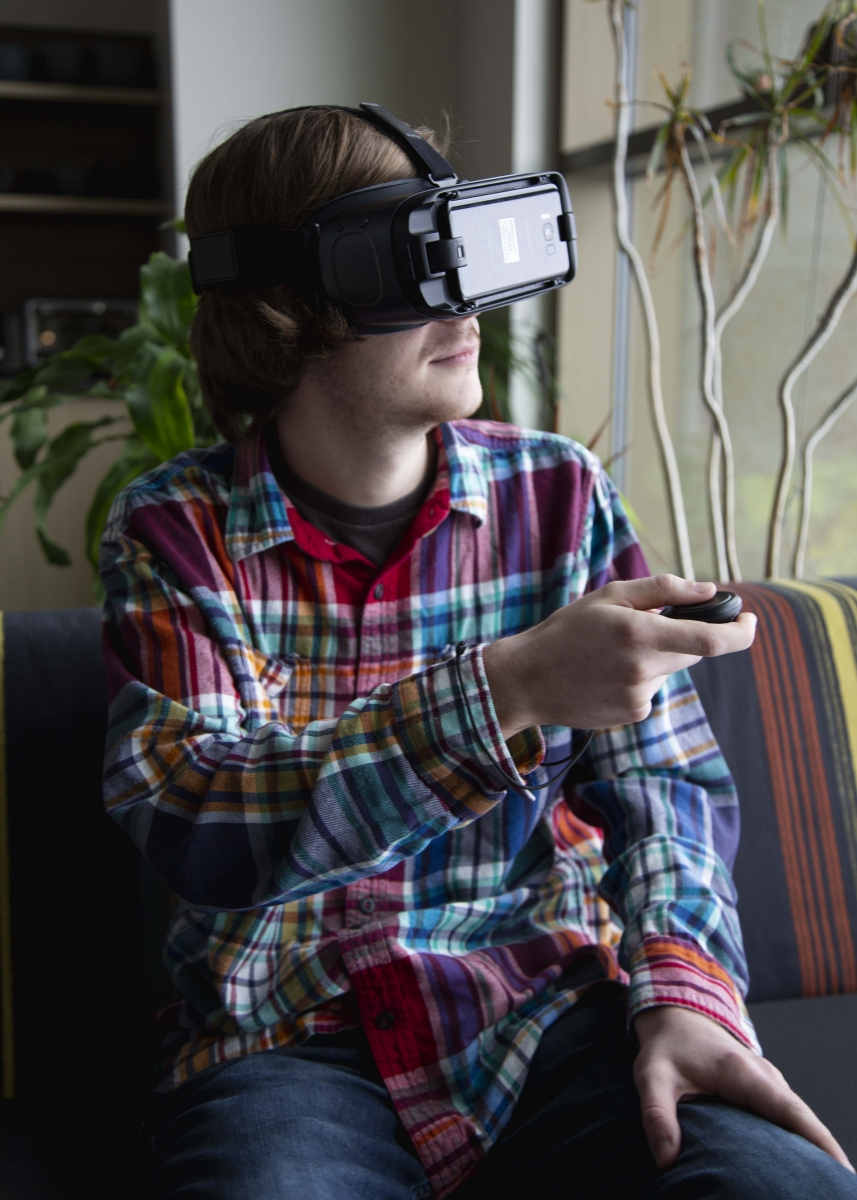 person playing virtual reality game