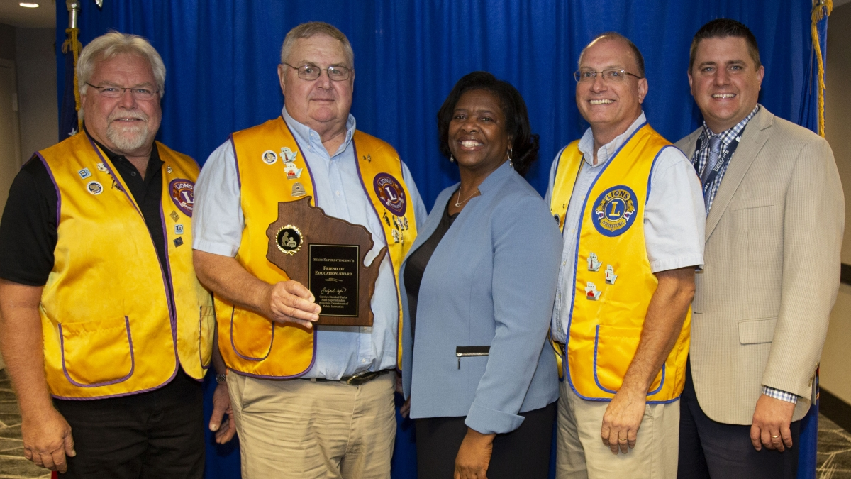 Lena Lions Club representatives with State Superintendent Carolyn Stanford Taylor