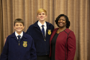 Food Pantry Project of the Randolph Cambria-Friesland FFA representatives with State Superintendent Carolyn Stanford Taylor