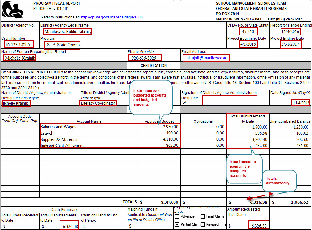 Lsta Fiscal Reporting Instructions Wisconsin Department Of Public