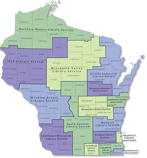 Image of Wisconsin's 16 regional public library systems