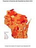 map of Wisconsin using colors to designate highest concentrations of students with disabilities