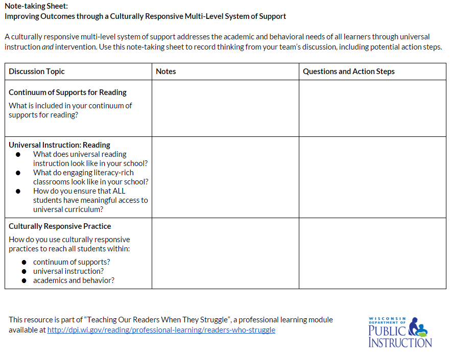 Note Taking Tool: Culturally Responsive Multi-Level System of Support