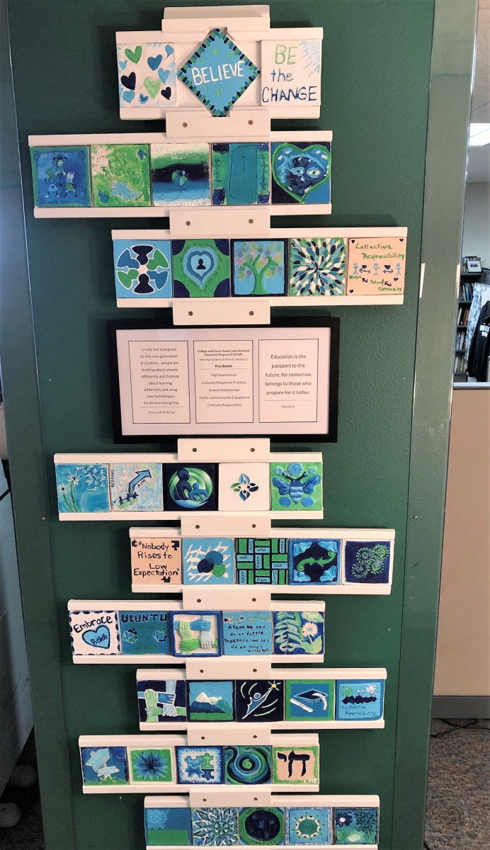 Picture of team art project - ceramic tiles done by individual staff members to represent what the CCR-IEP 5 beliefs means to them