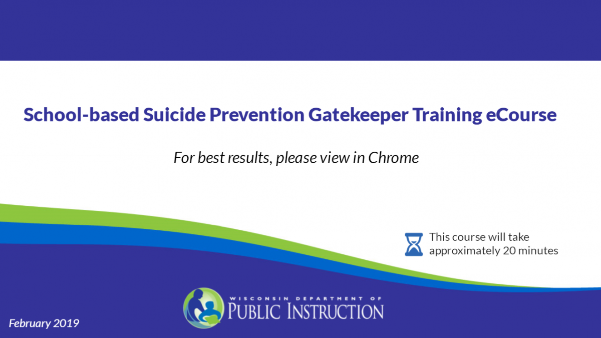 School-based Suicide Training eCourse First Slide Image