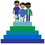 Graphic of children on top of a shape like a step pyramid
