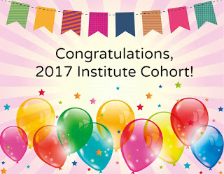 Congratulations, 2017 Institute Cohort with balloons and stars