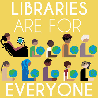 Libraries are for everyone--diverse people holding globes