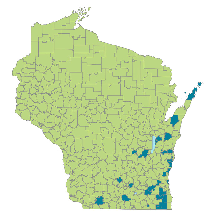 Map with approx. 90% of school districts shaded green