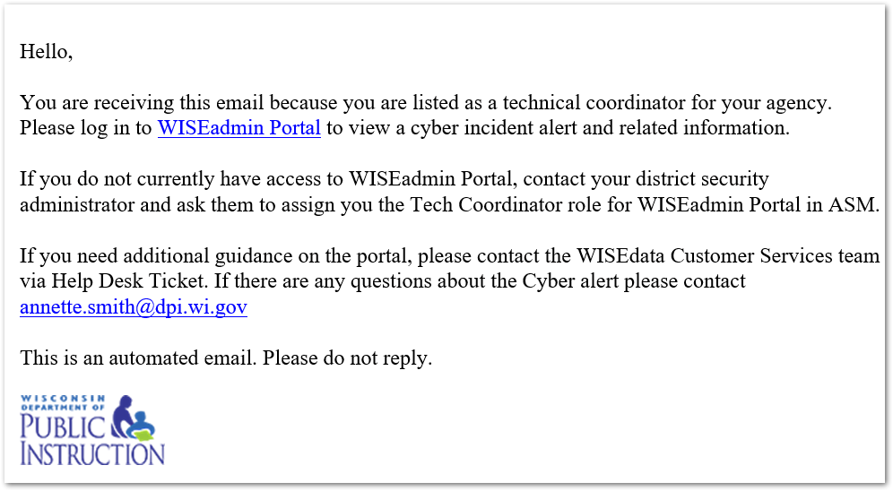 Cyber incident email