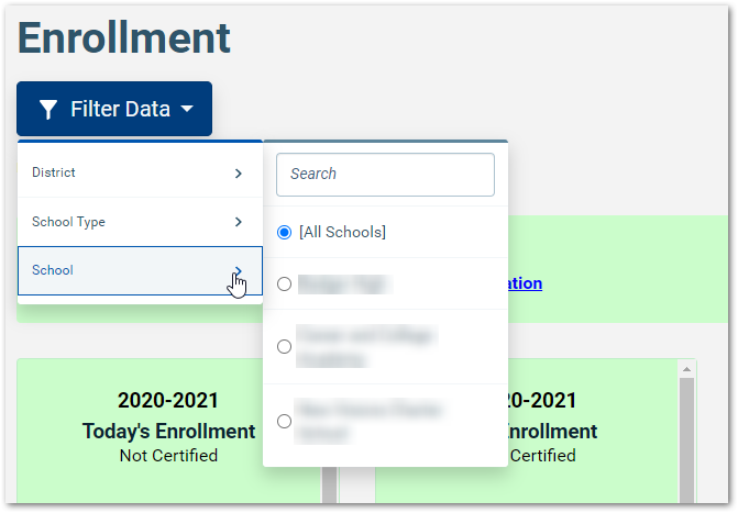 image of filters in enrollment dashboard