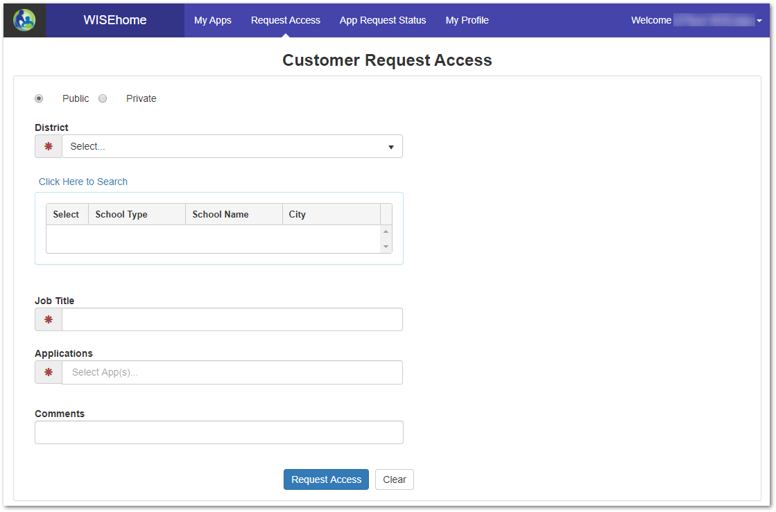 Customer request access form
