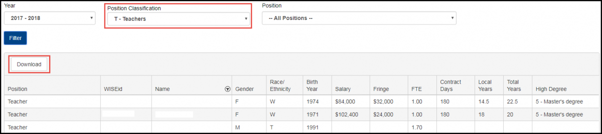 Salary report screen shot