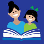 illustration of adult and child reading