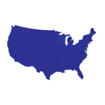 Silhouette of United States in blue