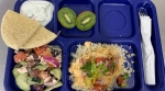 Reedsville School District served a Greek themed meal! The meal included chicken shawarma over rice, Greek salad, Greek yogurt dip with pita bread, and kiwi.