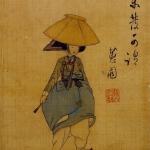 Illustration of Korean person in traditional dress beside a Korean poem