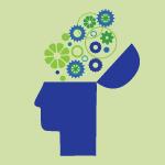Open and creative brain icon