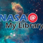 """""""NASA @ My Library"""" over a picture of the galaxy"""