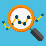 data graph and magnifying glass icon