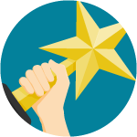 hand holding a gold star award