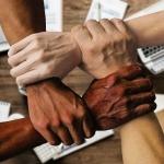 Hands in teamwork gesture