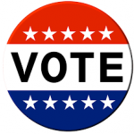 red white and blue VOTE button with stars