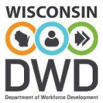 WI Department of Workforce Development logo: state, person, arrows