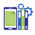 tablet, books, and gears - Library Media
